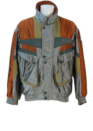 Metallic Copper, Grey & Olive Green Ski Jacket - L/XL