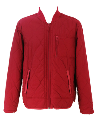Fila Burgundy Quilted Jacket with Pocket Detail - L/XL