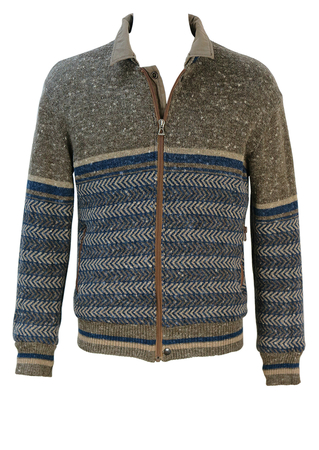 Colmar Reversible Blue & Taupe Patterned Wool Jacket with Cotton Khaki Option - M