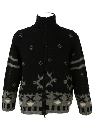 Chunky Black and Grey Nordic Style Zip Front Wool Cardigan - L/XL