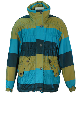 Ellesse Tonic Striped Puffer Jacket in Colour Block Metallic Teal, Turquoise & Lime Green - M