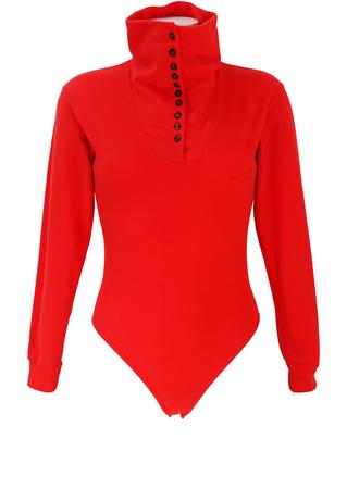 Belfe & Belfe Long Sleeved Orange Fleece Bodysuit with Multi Button Neck Detail - S/M