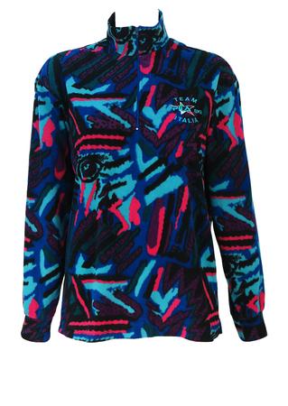 Fila Ski Team Italia 1/4 Zip Fleece Top with Multicoloured Graphic Eye Pattern - M/L