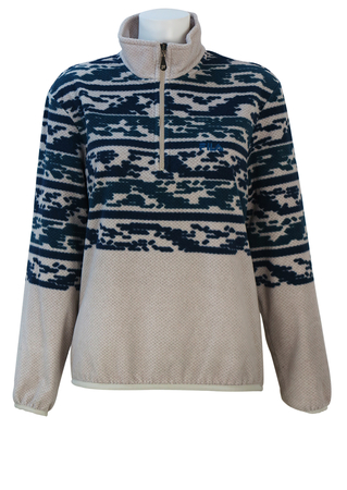 Fila 1/4 Zip Beige & Cream Fleece Top with Navy & Teal Blue Pattern - M