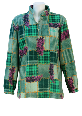 Fila Fleece Top with Green, Yellow and Blue Patchwork Pattern & Pink Floral Overlay - M/L