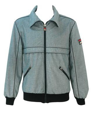 Vintage Fila Grey Marl Bomber Jacket - M