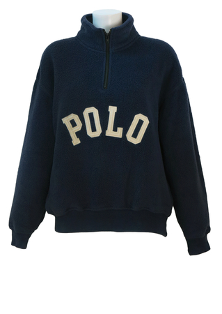Polo Sport Blue Fleece Sweatshirt Style Top with 1/4 Zip - M/L
