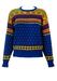 Ralph Lauren Blue Wool Jumper with Yellow, Green & Red Fair Isle Pattern - S/M