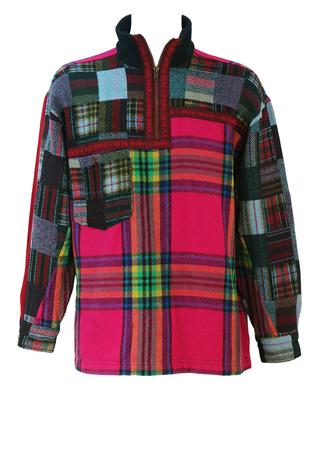 Multicoloured Patchwork Tartan 1/4 Zip Top with Fleece Collar - L/XL