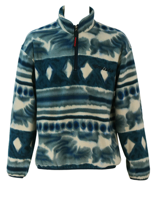 Invicta Abstract Striped Blue, Grey and White 1/4 Zip Fleece Top - M/L