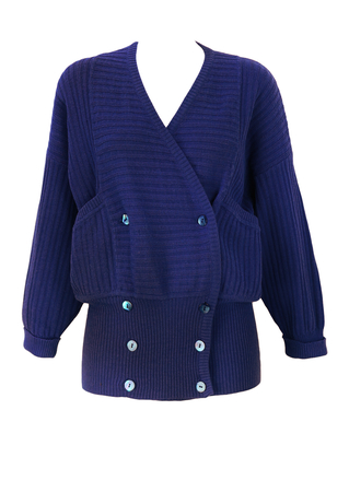 Max Mara Weekend Blue Ribbed Cross Over Cardigan with Wide Waistband - S/M