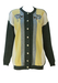 Yellow, Grey & Cream Striped Cardigan with Applique Leopard Heads & Pearl Buttons - M/L