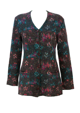 Missoni Sport Cardigan with Pink, Blue, Green & Brown Floral Abstract Pattern - S/M