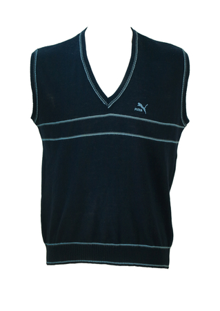 Vintage Puma Navy Blue Knit V Neck Tank Top with Light Blue Stripe Detail - M/L