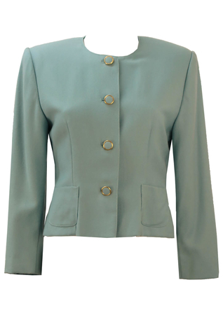 Soft Blue Jacket with Gold Trim Buttons - M