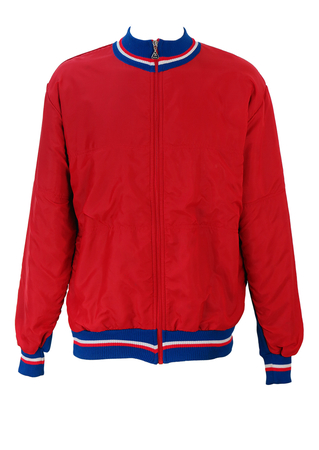 Red & Blue Part Wool Sibille Cycling Jacket - L/XL