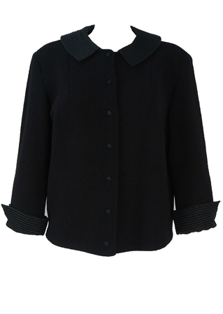 Vintage 1950's Black Jacket with Ribbed Collar & Cuff Detail - M/L
