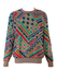 Missoni Cotton & Linen Jumper with Green, Red, Blue, Purple & Ochre Geometric Pattern - L/XL
