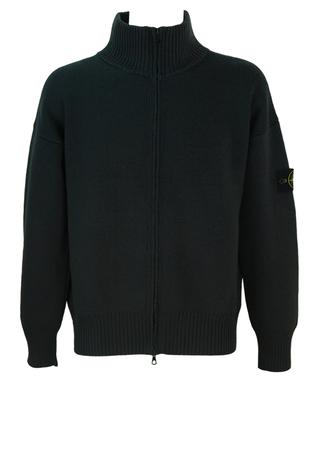Stone Island Charcoal Grey 100% Wool Zip Front Cardigan - L