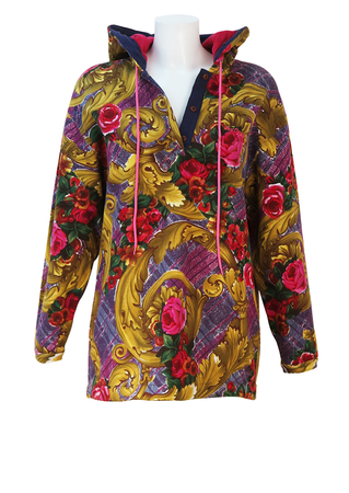Best Company Hoodie with Pink, Purple & Gold Floral & Baroque Pattern - L