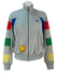 Grey Track Jacket with Blue, Red, Green & Yellow Stripes & Smiley Face Badge - M