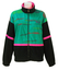Fila Velour Track Jacket in Green, Black & Pink with Abstract Striped Pattern - M/L