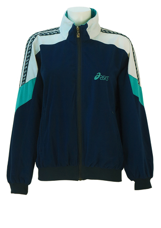 Asics Navy Blue Velour Track Jacket with Turquoise Blue & White Sleeve Detail - M/L