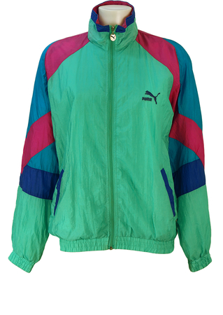 Puma Aquamarine Shell Track Jacket with Pink & Blue Chevron Striped Sleeves - M