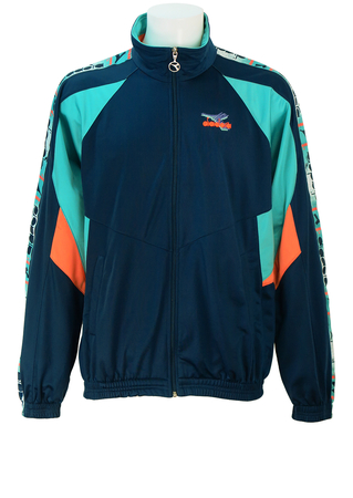 Diadora Navy Blue Track Jacket with Aquamarine and Neon Orange Angular Stripe Detail - L/XL