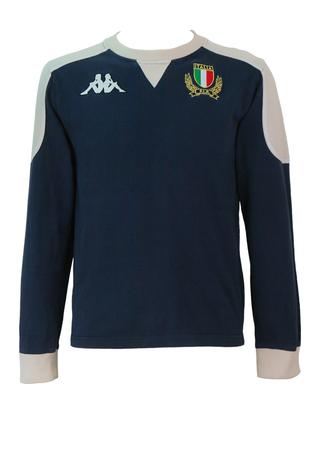 Kappa Navy Blue and Cream Long Sleeved T-Shirt with Italia FIR Emblem - S