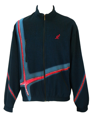 Australian by L'Alpina Navy Blue Track Jacket with Red, White & Blue Graphic Stripes - L/XL