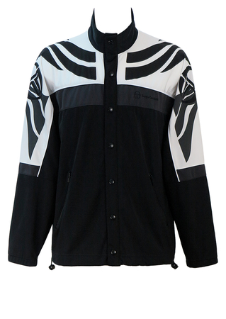 Sergio Tacchini Black & Grey Track Jacket with Black & White Graphic Pattern Sleeves - L/XL