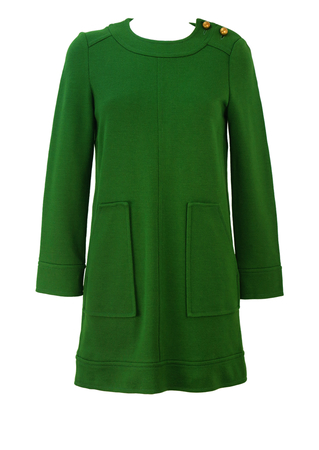 Missoni Green Jersey 60's Style Mini Shift Dress with Gold Buttons - S/M