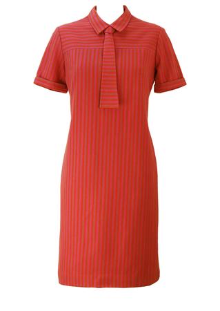 Vintage 60's Mod Style Shift Dress with Pink, Orange & Grey Stripes - Deadstock / New - M