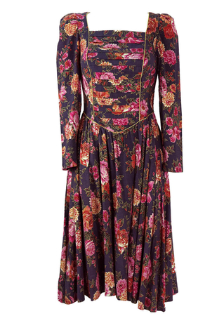 Vintage 1980's Purple Floral Pattern Dress with Gold Highlights - S