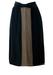 Pancaldi & B Pure Silk Black & Olive Layered Midi Skirt with Ruched Waistband - S/M