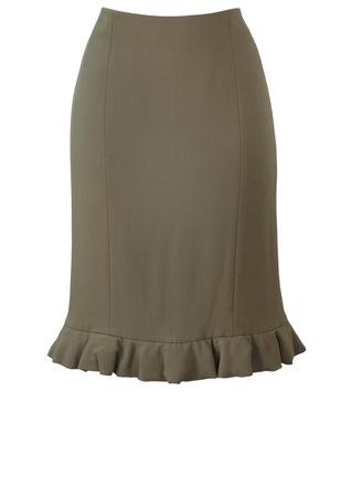 Giorgio Armani Black Label Taupe Pencil Skirt with Frill Detail Hem - S/M