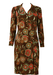 Vintage 1960's Dress with Abstract Floral Pattern in Brown & Red - L