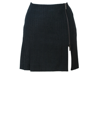 Versace Jeans Couture Grey & Metallic Silver Pinstripe Mini Skirt with Two Way Zip - S