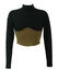 Oaks by Ferre Long Sleeved Black & Khaki Fitted Corset Style Crop Top - XS/S