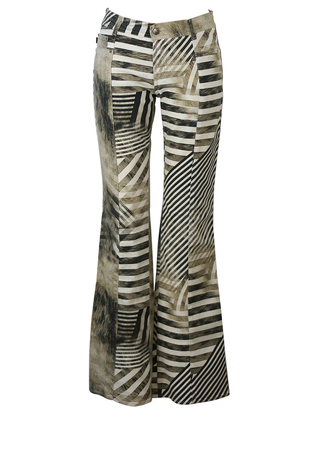 Just Cavalli Striped Zebra Print Style Flared Jeans with Subtle Metallic Gold Sparkle - S/M