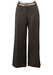 Trussardi Brown Wide Leg Linen Trousers with Striped Belt & Clasp Detail - S/M