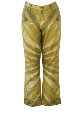 Just Cavalli Jeans with Palm Leaf Pattern in Sand Colour Tones - L