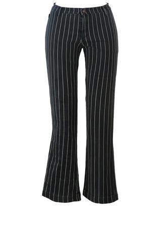Moschino Jeans Black Stretch Jeans with Fine White Stripe - M
