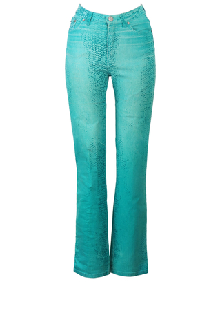 Cavalli Jeans Fitted Stretch Jeans with Turquoise Snakeskin Style Print - S