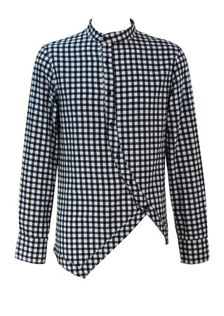 Black & White Check Shirt with a Round Neck Collar and Asymmetric Curved Cut - M