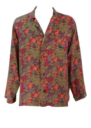 Fila Purple, Red, Orange & Green Fruit & Leaves Patterned Shirt - L/XL