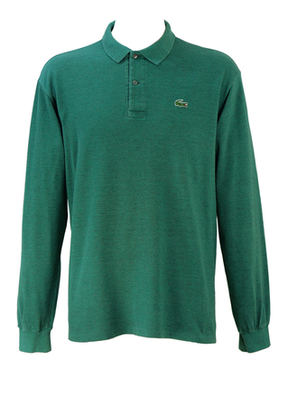 Lacoste Green & Grey Two Tone Long Sleeved Polo Shirt - L/XL