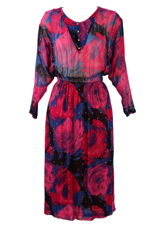 Vintage 1980's Semi Sheer Abstract Floral Patterned Dress - M/L