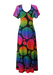 Vintage 70's Black Maxi Dress with Multicoloured Psychedelic Circle Pattern - M